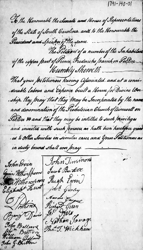 Petition of the Residents of Upper Prince Frederick Parish for Incorporation of Aimwell Presbyterian Church, 1791