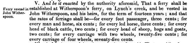 Witherspoon's Ferry Vested in John Witherspoon - 1801