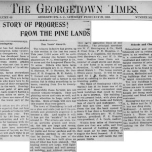 Progress In The Pinelands, Georgetown Times, 2-22-1913 Hemingway.pdf