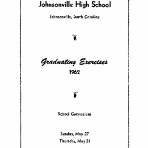 1962 Johnsonville High School Commencement and Graduation Program
