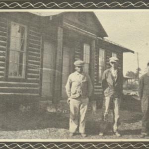 Charlie Prosser, C.O. Powell, Pete Hanna, Delmus Abrams, log cabin 1934.jpg