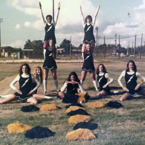 JHS cheerleaders late 1970s - Mona Lawrimore McDaniel, Staci Crocker Lyerly, Lyn McDaniel Bachelor, Sheila Davis Weaver, Gail Bachelor Weaver, Bonnie Prosser, Paula Ammons Alford, Renee Willis Sanders, and Audrey McDan.jpg