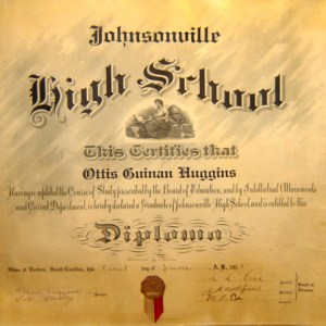 Ottis Guinan Huggins High School Diploma 1 June 1915 Old Johnsonville High  School.jpg