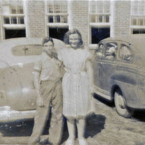 Lois Hanna in front of JHS circa 1946